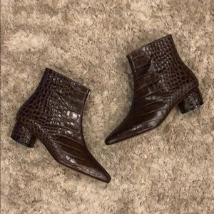 LoQ Matea Croc Embossed Bombon Leather Bootie NWT